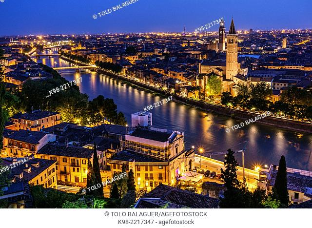 View of Verona from Castel San Pietro, Church of Santa Anastasia, Verona, World Heritage, Italy