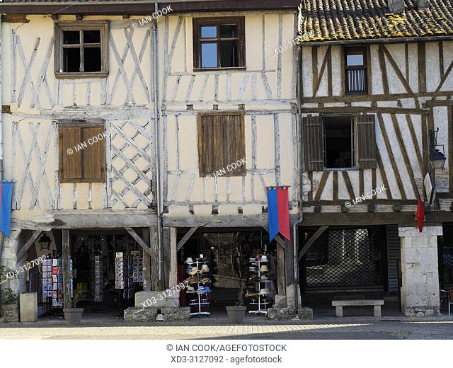 half-timbered architecture, Place Gambetta, Eymet, Dordogne Department, Nouvelle-Aquitaine, FranceFrance