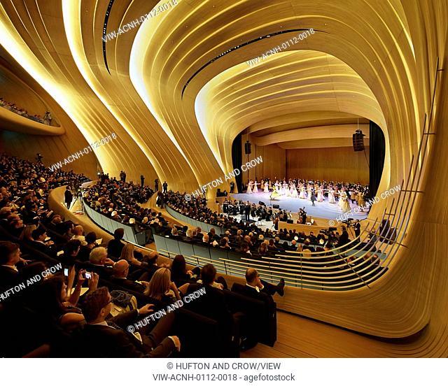 Heydar Aliyev Cultural Center, Baku, Azerbaijan. Architect: Zaha Hadid Architects, 2013. Auditorium during performance