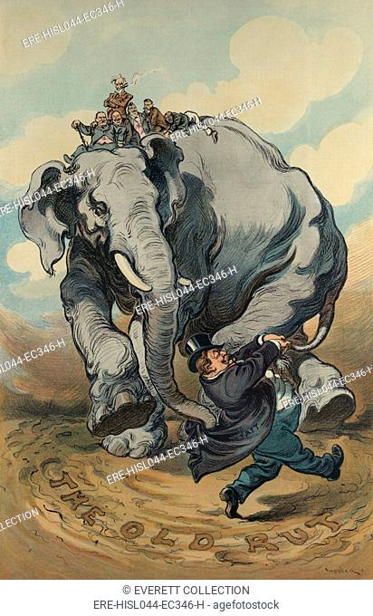 THE LEADER, a political cartoon of President Taft leading the Republican elephant in circles, creating a rut. Puck Magazine, Nov. 10, 1909
