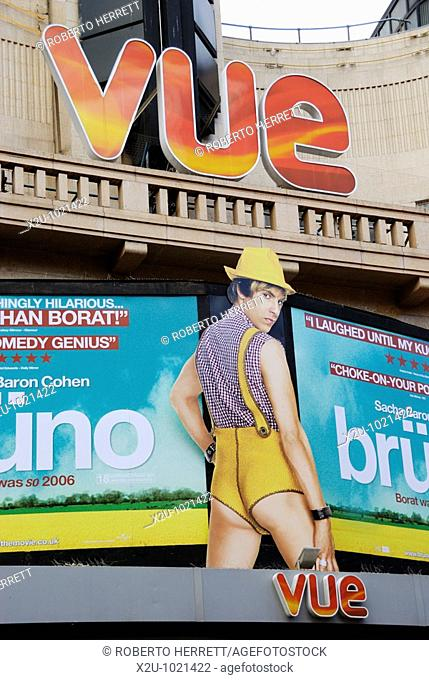 Vue cinema billboard promoting the film Bruno - Leicester Square, London, England