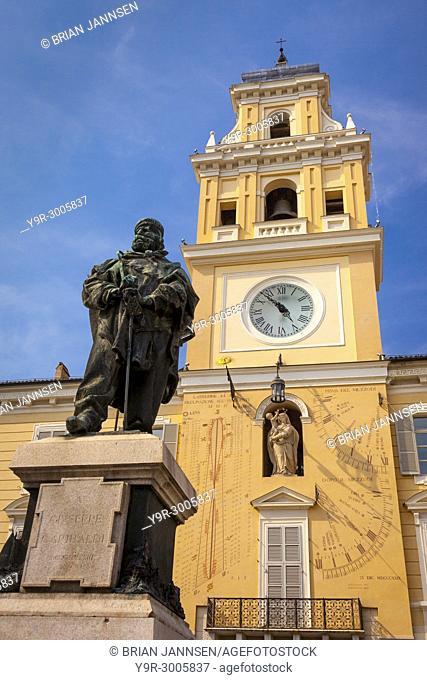 Statue of Giuseppe Garibaldi and astronomical clock in Piazza Garibaldi, Parma Emilia-Romagna Italy