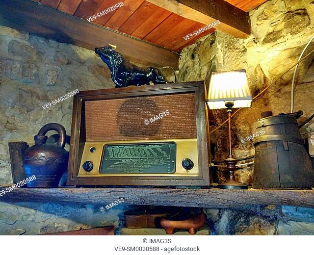 Ancient radio. El Tozo restaurant. El Tozu village, Asturias, Spain