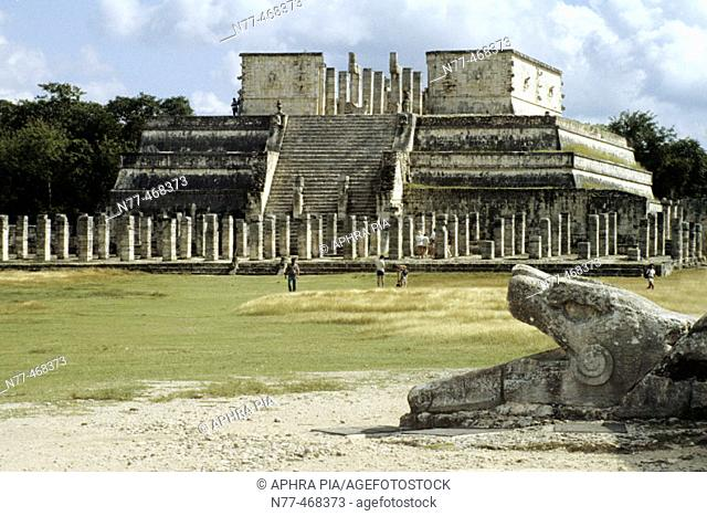 Temple of Warriors & serpent. Maya Architecture /Toltec influence. Chichen Itza, Yucatan, Mexico