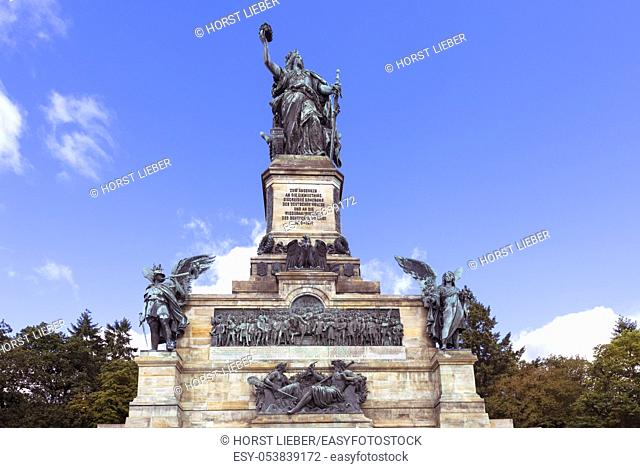 Niederwald monument near Ruedesheim in Hesse. The monument was to commemorate the unification of Germany in 1871. rhine valley, germany, europe