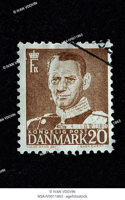 Frederick IX, King of Denmark and Iceland 1947-1972, postage stamp, Denmark