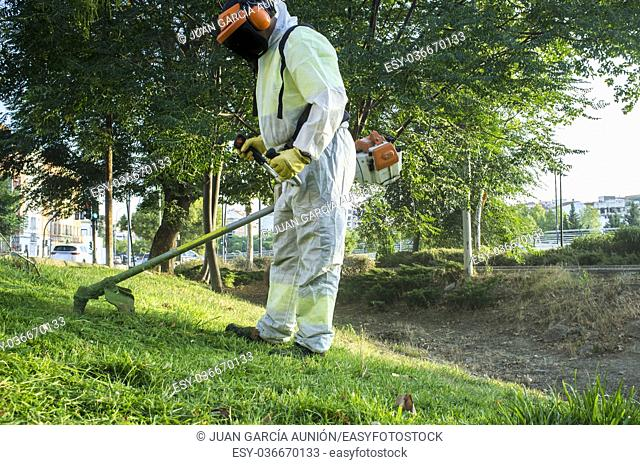 Gardener mowing the grass with lawn mower in the park. He wears Personal protective equipment (PPE)