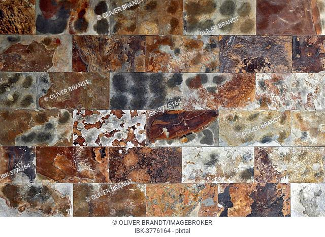 Wall, colourful polished natural stone blocks, various types of rock