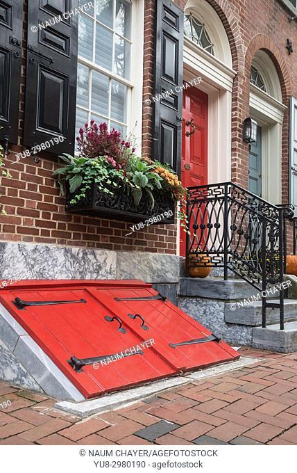 Entrance to the basement of an old house, Philadelphia, Pennsylvania, USA