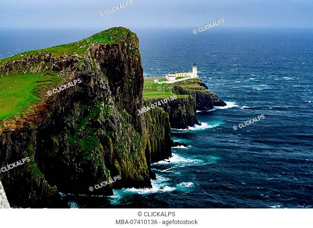 Lighthouse, Neist Point, Isle of Skye, Scotland, Great Britain, Europe