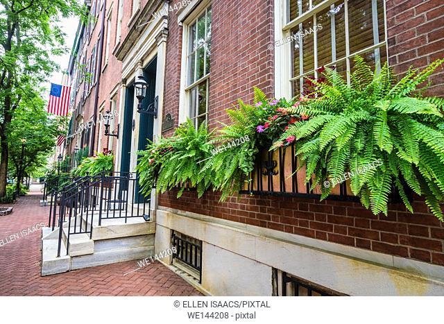 Attractive window boxes with ferns and flowers along on brick home in historic Philadelphia neighborhood
