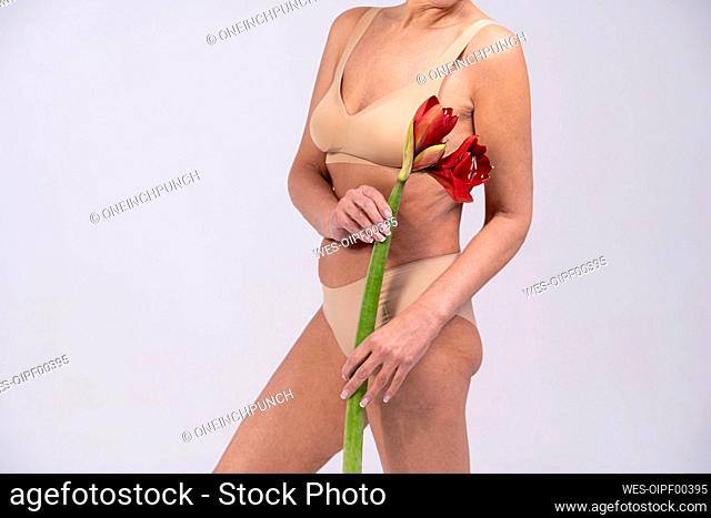 Woman wearing lingerie holding flower while standing against gray background