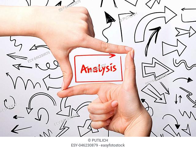 Technology, internet, business and marketing. Young business woman writing word: analysis