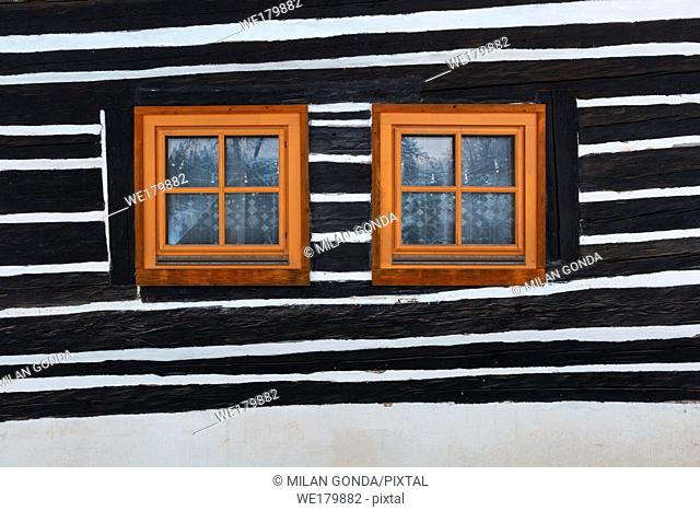 Windows of a traditional house in Cremosne village, northern Slovakia