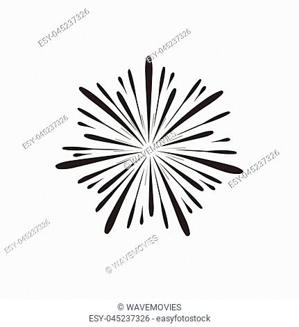 Fireworks display celebration icon in black flat outline design. Independence Day holiday concept