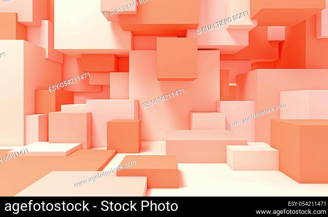 structure composed of cubes of different sizes in pink tones. 3d image render