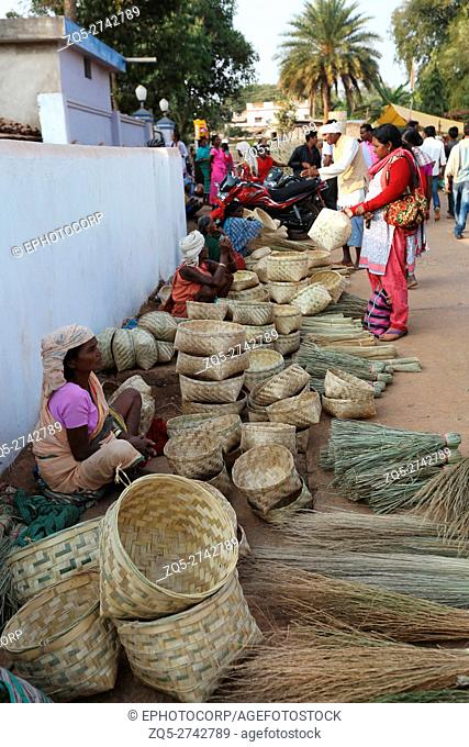 Bamboo articles for sale, Tribal Market, Jagdalpur, Bastar District, Chattisgarh, India