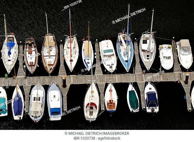 Sailing boats in the marina from a bird's eye view, Kiel-Schilksee, Schleswig-Holstein, Germany, Europe