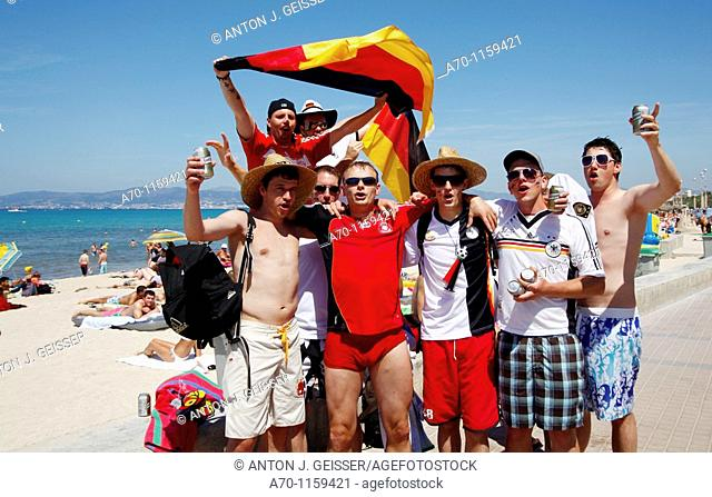 German soccer fans at the beach , el arenal , palma de mallorca