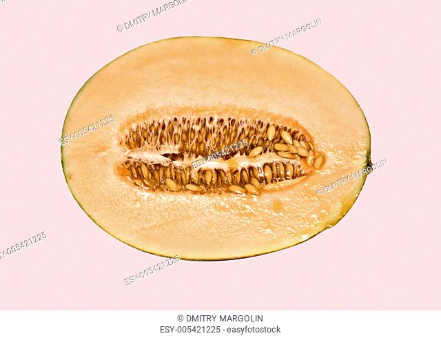 Cross-section of melon isolated on white background