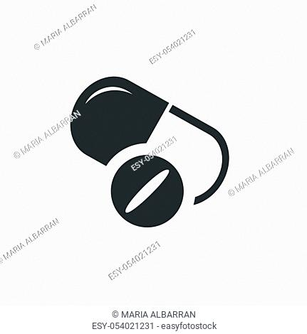 Pills icon. Isolated image. Flat pharmacy and medicine vector illustration