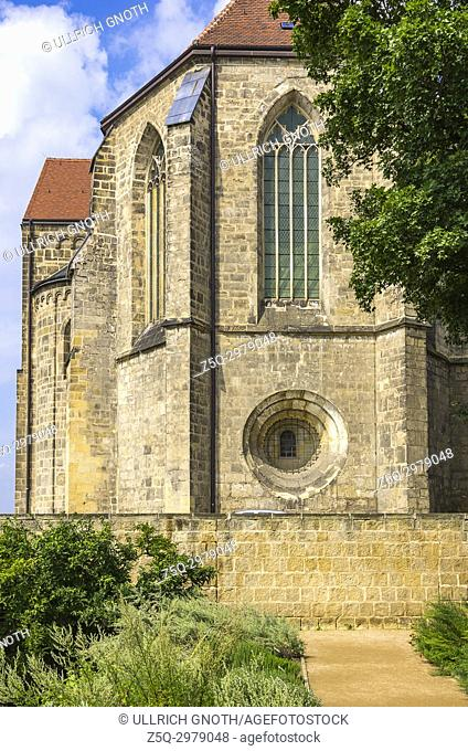 The Collegiate Church of St. Servatius seen from the monastery gardens, Quedlinburg, Saxony-Anhalt, Germany
