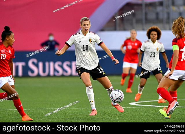 Belgium's Justine Vanhaevermaet pictured in action during a soccer game between Switzerland and Belgium's Red Flames, Tuesday 22 September 2020 in Thun