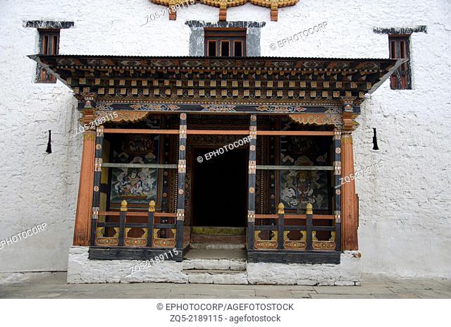 Inside view of Rinpung Dzong, Drukpa Kagyu Buddhist monastery, Paro, Bhutan