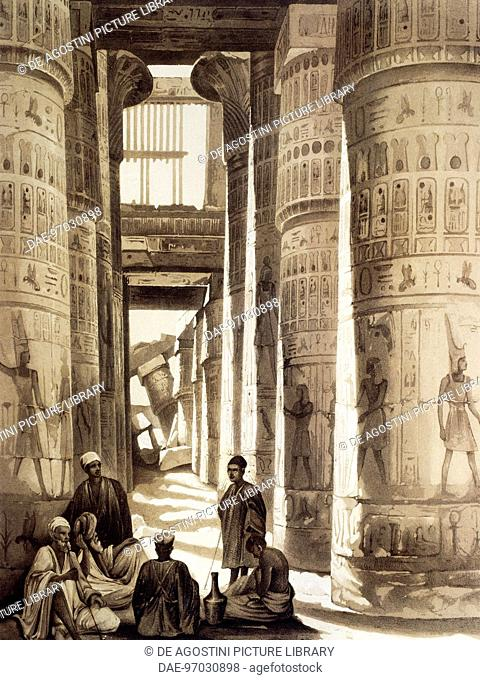 The Great hypostyle hall in the Karnak temple complex in Amon-Re, Ancient Thebes, engraving from Panorama of Egypt and Nubia, 1841, by Hector Horeau (1801-1872)
