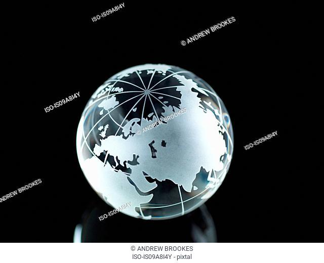 Glass Globe illustrating Asia, India, China, Russia, Africa, Saudi Arabia, Middle East