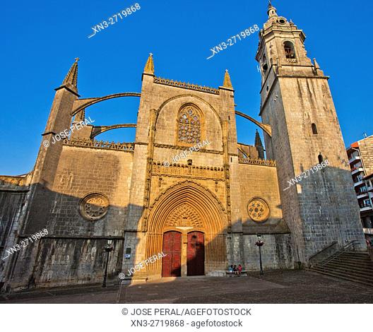 The Basilica Assumption of Santa Maria, Lekeitio, Biscay, Basque Country, Spain, Europe