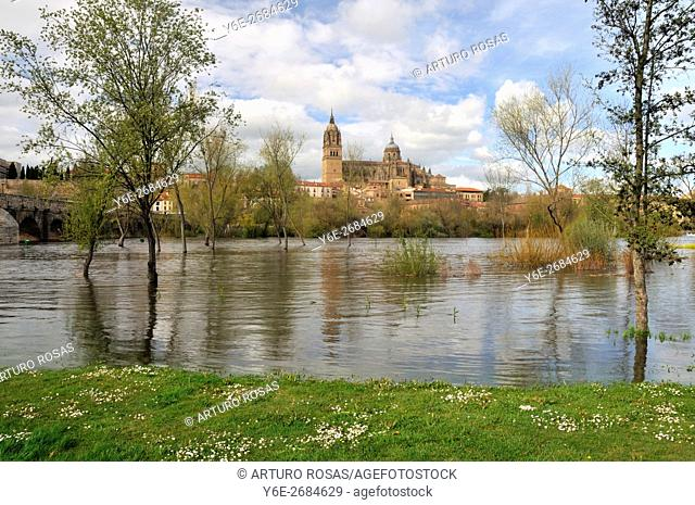 Tormes River flood and the cathedral of Salamanca, Spain