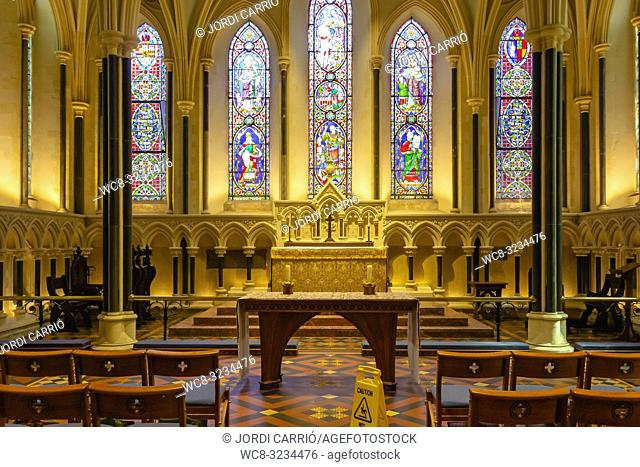 DUBLIN, IRELAND: View of a chapel inside the St. Patrick's Cathedral in Dublin