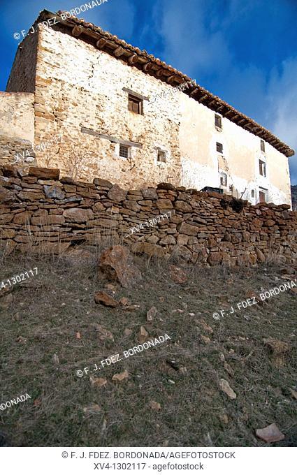 Fortanete village in winter, Teruel province, Aragon, Spain