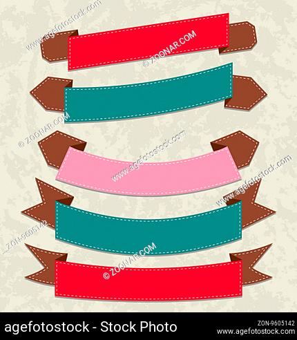 Illustration set colorful ribbons, various forms -