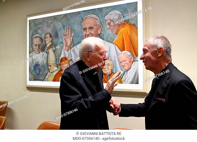 Italian cardinal and Prefect emeritus of the Congregation for Bishops Giovanni Battista Re and spanish Cardinal Luis Francisco Ladaria Ferrer