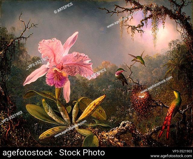Martin Johnson Heade - Cattley Orchid Three Hummingbirds 1871