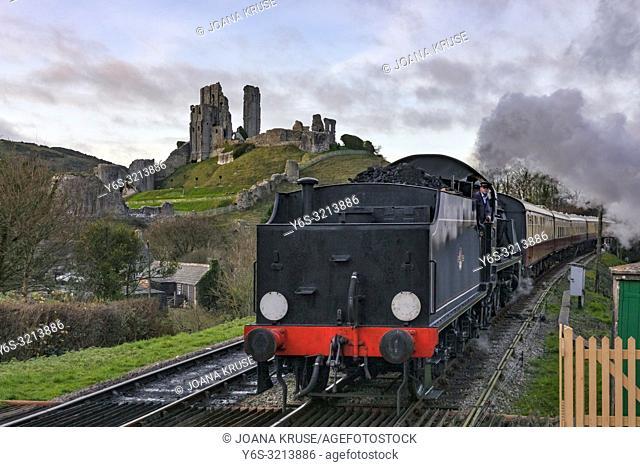 Corfe Castle, steam train, Dorset, England, United Kingdom