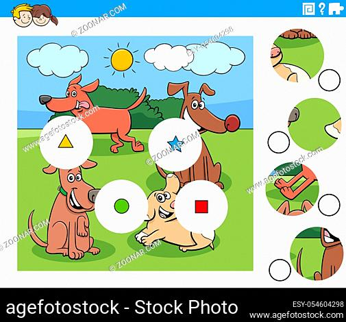 Cartoon Illustration of Educational Match the Pieces Jigsaw Puzzle Game for Children with Dogs Animal Characters Group