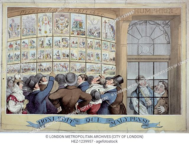 'Honi soit qui mal y pense', 1821. A crowd gazing at prints in Humphrey's shop window. All the prints are careful copies from the series published by Humphrey...