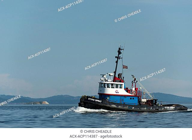 Tugboat in Sidney Channel, Vancouver Island, British Columbia, Canada