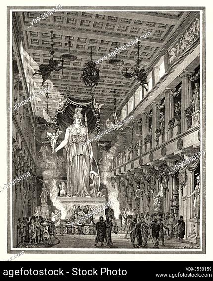 Artistic recreation of the Parthenon during the Classical period Statue of the Goddess Athena. Athens. Ancient Greece. Old 19th century engraved illustration
