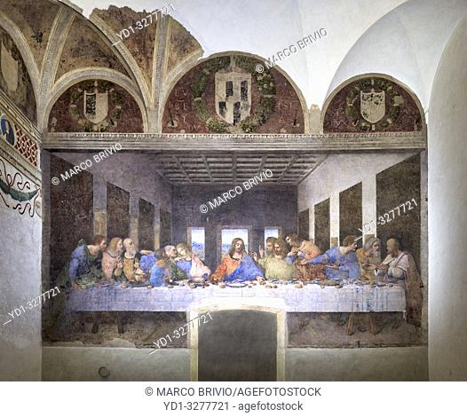 Milan, Italy. The Last Supper (Il Cenacolo) is a late 15th-century mural painting by Italian artist Leonardo da Vinci housed by the refectory of the Convent of...