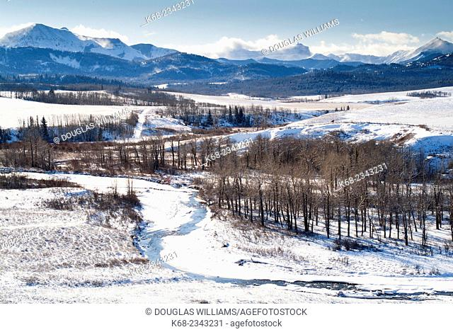 a view in winter of the Pincher Creek, west of the town of Pincher Creek, Alberta, Canada