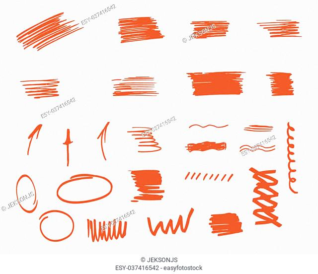 Different design elements, brush strokes isolated on white background. Set of unusual symbols and elements to customize your project