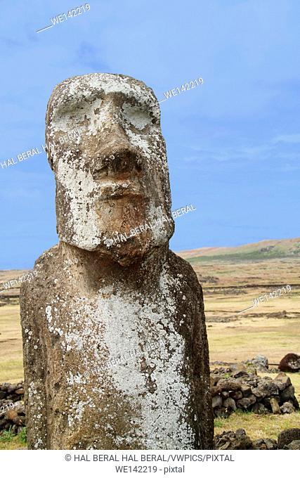 Statue (moai) at Ahu Tongriki. Easter Island, Chile