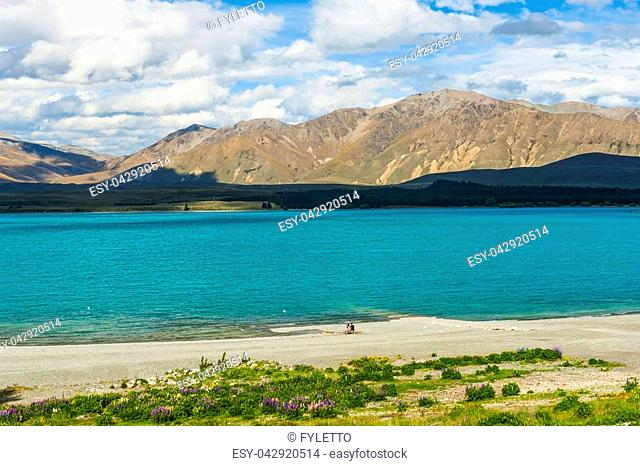 Beautiful incredibly blue lake Tekapo with mountains, Southern Alps, on the other side. New Zealand