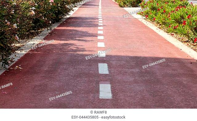 Bike lane. Red asphalt path with white lines for bicycles