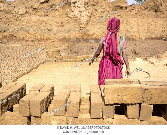 Woman with mud bricks in Chhatrasagar, Rajasthan, India