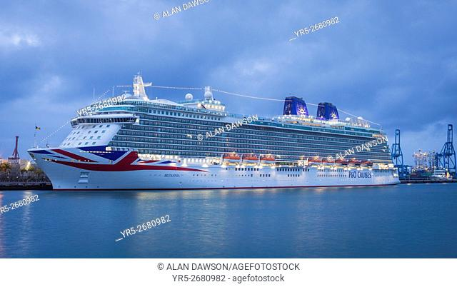 Britannia, the largest ever cruise ship built for the UK market visiting Las Palmas, Gran Canaria, Canary Islands, Spain, Europe